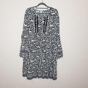 Old Navy Boho Long Sleeve Forest Print Dress XL
